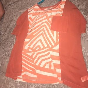 Umgee size 2XL orange and off white top